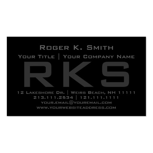 Elegant Gray on Black Stylish Professional Double-Sided Standard Business Cards (Pack Of 100)