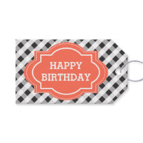 Elegant Gray Orange Personalized Happy Birthday Gift Tags