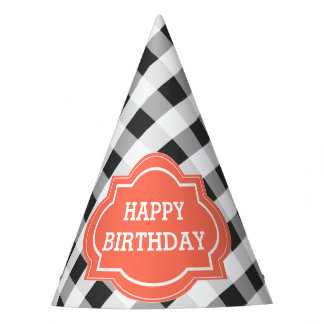 Elegant Gray Orange Personalized Happy Birthday Party Hat