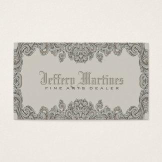 Elegant Gray Ornate Victorian Swirls Frame Business Card