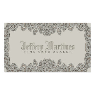 Elegant Gray Ornate Victorian Swirls Frame Double-Sided Standard Business Cards (Pack Of 100)