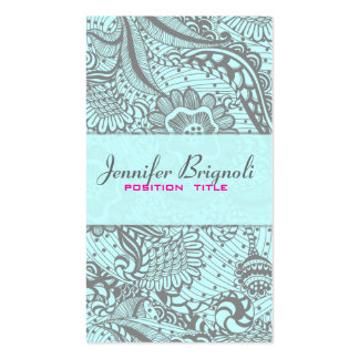Elegant Gray & Pastel Blue Abstract Flowers 2 Business Card