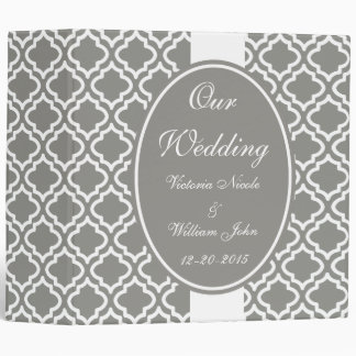 Elegant Gray Personalized Wedding Scrapbook Gift 3 Ring Binder