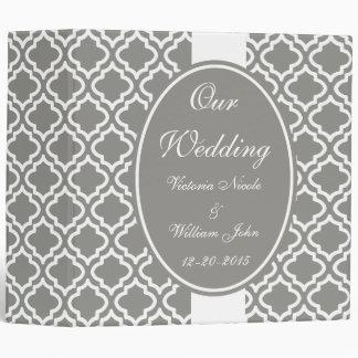Elegant Gray Personalized Wedding Scrapbook Gift 3 Ring Binder