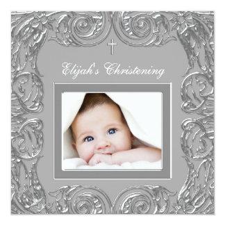 "Elegant Gray Photo Christening Invitations 5.25"" Square Invitation Card"