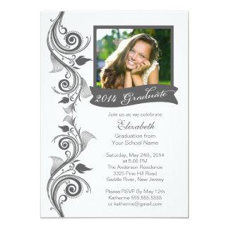 Elegant Gray Photo Graduation Party Invitation