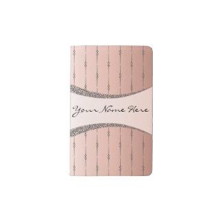 Elegant Gray Pinstripes on Rose Gold Gradient Pocket Moleskine Notebook