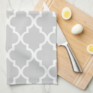Elegant Gray Quatrefoil Tiles Pattern Kitchen Towels