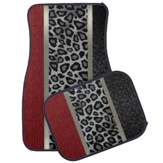 Elegant Gray, Red and Leopard Animal Design Car Mat