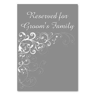 Elegant Gray Reserved Wedding Table Card