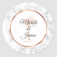 Elegant Gray Rose Gold Palm Tree Marble Wedding Classic Round Sticker