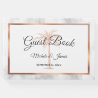 Elegant Gray Rose Gold Palm Tree Marble Wedding Guest Book
