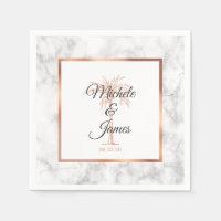Elegant Gray Rose Gold Palm Tree Marble Wedding Napkins