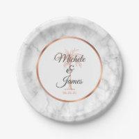 Elegant Gray Rose Gold Palm Tree Marble Wedding Paper Plate