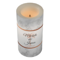 Elegant Gray Rose Gold Palm Trees Marble Wedding Flameless Candle