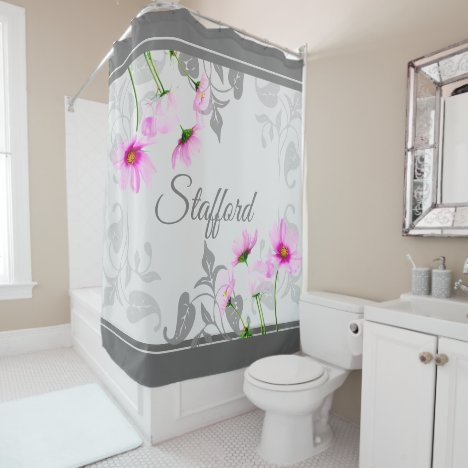 Elegant Gray Shades, Pink Cosmos, Your Name Pretty Shower Curtain