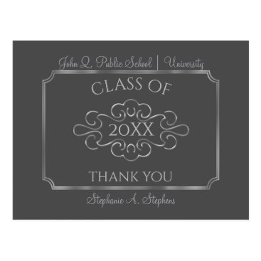 Beach Themed Elegant Gray | Silver College Graduation Thank You Postcard