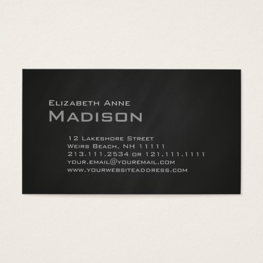 Elegant Gray Slate Chalkboard Monogram Classic Business Card