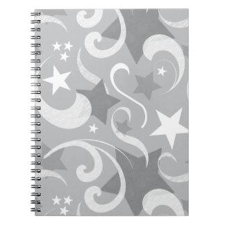 Elegant, Gray, Stars, White, Swirl, Magical, Grey Spiral Notebook