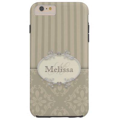 Elegant Gray Stripes and Damask Monogram Tough iPhone 6 Plus Case