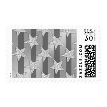 Professional Business Elegant Gray Stripes and Silver Stars Postage