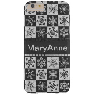 Elegant Gray Textured Christmas Snowflakes Barely There iPhone 6 Plus Case