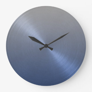 Elegant Gray to Blue Ombre Gradient Large Clock