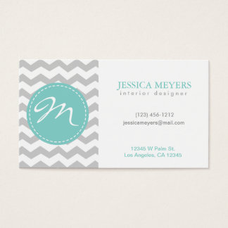 Elegant gray & white Chevron with Monogram Business Card