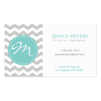 Elegant gray & white Chevron with Monogram Double-Sided Standard Business Cards (Pack Of 100)