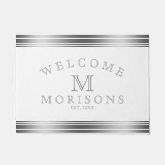 Elegant Gray & White Decorative Stripes Doormat