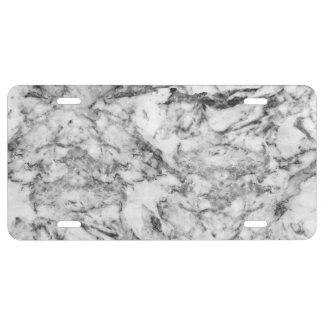 Elegant gray white modern marble texture patterns license plate