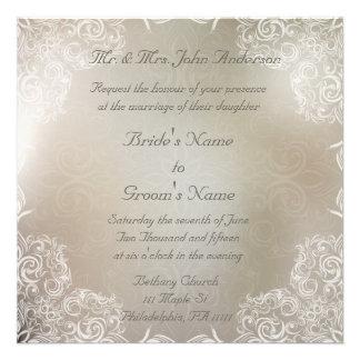 Elegant Gray with White Swirls Wedding Invites
