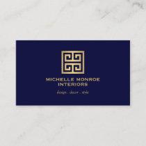 Elegant Greek Key Designer Logo Gold/Dark Blue Business Card