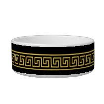 Elegant Greek Key Monogram Pet Bowl