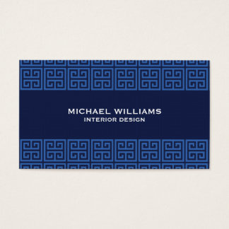 Elegant Greek Key Pattern in Blue Business Card