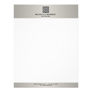 Elegant Greek Key Real Estate Logo Black/Gray Letterhead