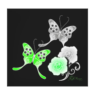 Elegant Green And Black Butterflies And Roses Canvas Prints