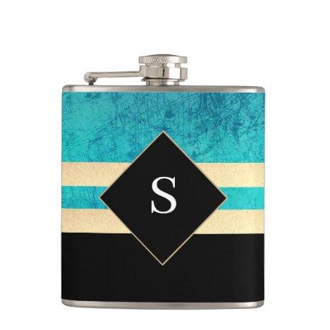 Elegant green and black with monogram flask
