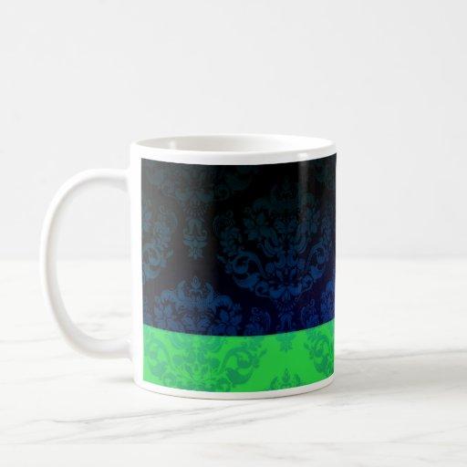 Elegant Green and Blue Damask Classic White Coffee Mug