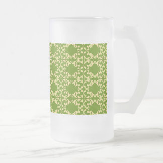 Elegant Green and Cream Damask Swirls Pattern Frosted Glass Beer Mug