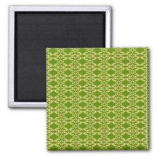 Elegant Green and Cream Damask Swirls Pattern Magnet
