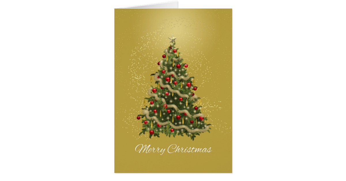Elegant green and gold christmas tree card zazzle for Green and gold christmas tree