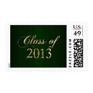 Elegant Green and Gold Class of 2013 Stamp