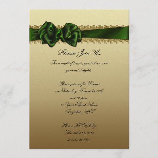 Elegant Green and Gold Corporate Party Invite