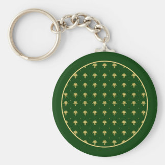 Elegant Green and Gold Damask Keychain