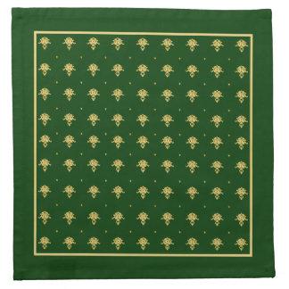 Elegant Green and Gold Damask Napkin