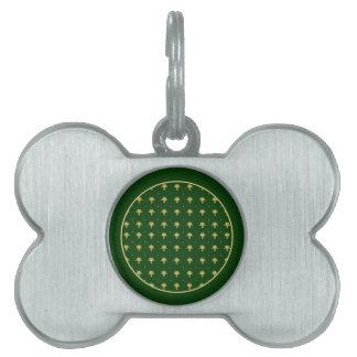 Elegant Green and Gold Damask Pet Tag