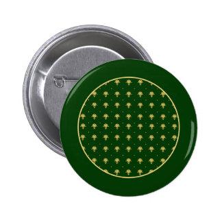 Elegant Green and Gold Damask Pinback Button