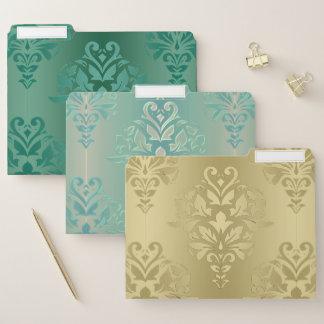 Elegant Green and Gold Floral Damask Folder Set