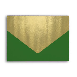 Elegant Green and Gold Foil Christmas Holiday Envelopes